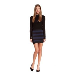 BCBG Alina Bandage Mini Skirt Navy Blk Stretch XS